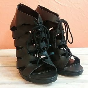 Express Leather Black Lace Up Heeled Sandals